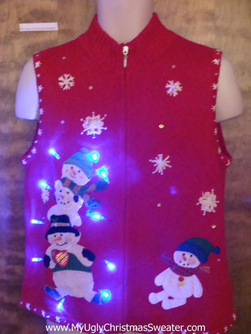 Jolly Snowmen Ugly Christmas Sweater Vest with Lights