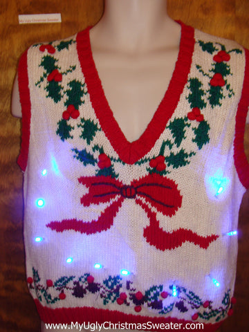 80s Retro Ugly Christmas Sweater Vest with Lights
