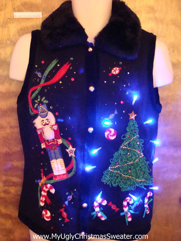 Furry Collar Ugly Christmas Sweater Vest with Lights