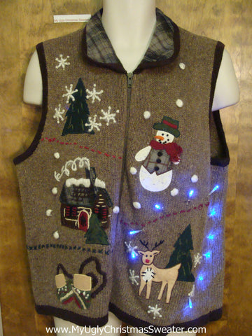 Ugly Brown Christmas Sweater Vest with Lights