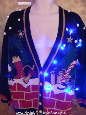 80s Style Cardigan Ugly Christmas Sweater with Lights
