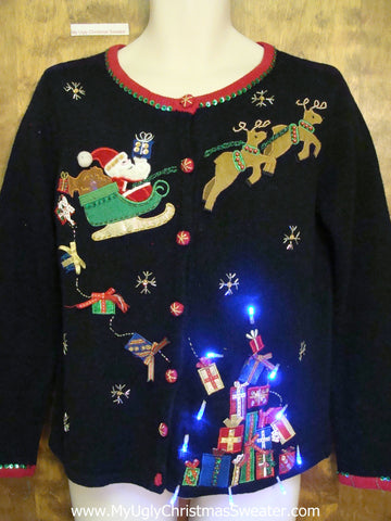 Santa and Reindeer Ugly Christmas Sweater with Lights