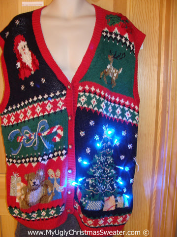 Tacky Xmas Sweater Vest with Lights Reindeer, Bear, Santa, Tree (g134)