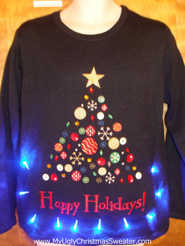 HAPPY HOLIDAYS Ugly Christmas Sweater with Lights