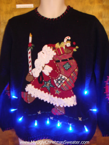 High Kicking Fancy Santa Ugly Christmas Sweater with Lights