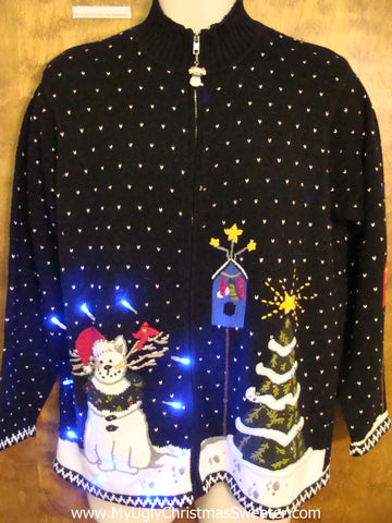 Crazy Cat Lady Ugly Christmas Sweater with Lights