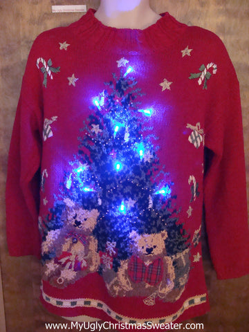 Ugly Red 80s Style Christmas Sweater with Lights