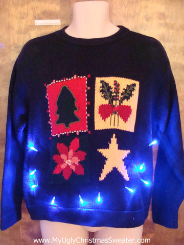 Black Ugly Christmas Sweater Pullover with Lights