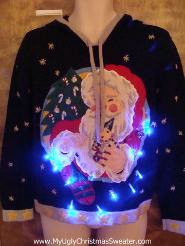 Santa Ugly Christmas Sweater Hoodie with Lights