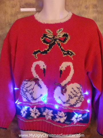 Twin Goose Ugly Christmas Sweater with Lights