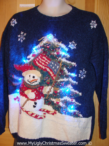 Tacky Xmas Sweater with Lights Snowman Skiing Tree (g135)