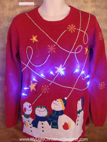 Four Snowmen Ugly Christmas Sweater with Lights