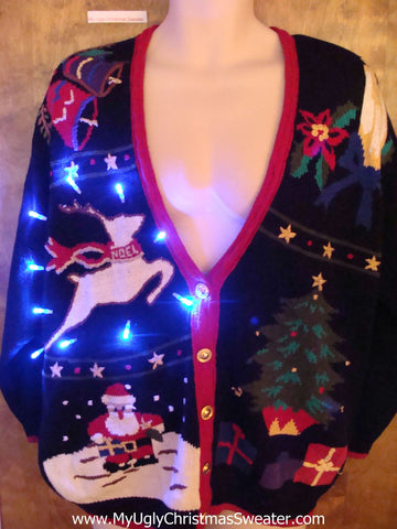 Flying Reindeer 80s Ugly Christmas Sweater with Lights