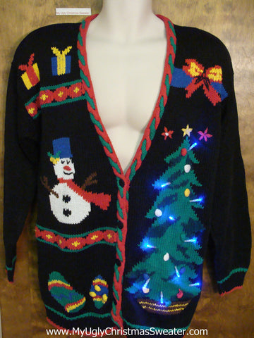 Ugly 80s Christmas Sweater with Huge Lit Up Tree
