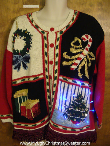 Ugly 80s Christmas Sweater Cardigan with Lights