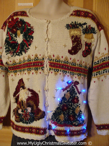 Tacky 80s Xmas Sweater with Lights 2sided Design (g136)