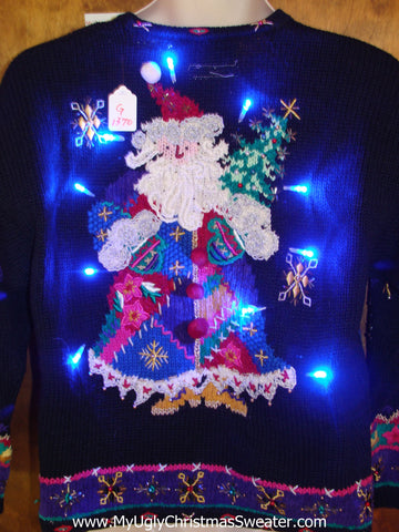 Bling Alert! 2sided Santa Ugly Christmas Sweater with Lights