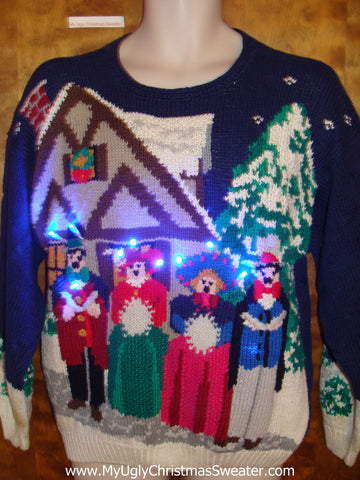 Caroling Singers Ugly Christmas Sweater with Lights