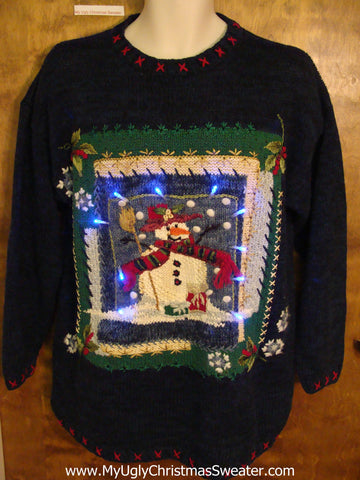 Framed Snowman Ugly Christmas Sweater with Lights