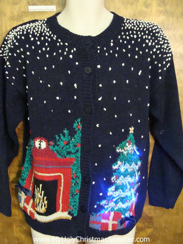 Horrible Black Ugly Christmas Sweater Cardigan with Lights