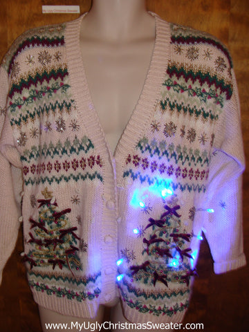 Ugly Christmas Sweater Cardigan with Twin Trees and Lights