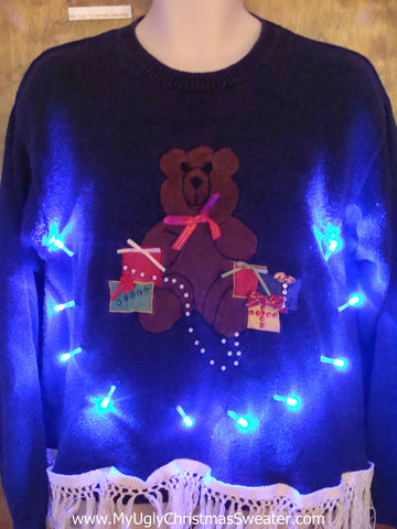 Teddy Bear Ugly Christmas Sweater with Lights and Fringe