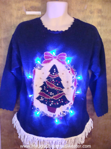 Tacky Tree Ugly Christmas Sweater with Fringe and Lights