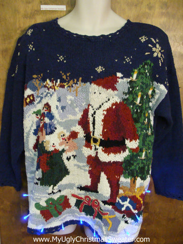 80s Awesome Busy Ugly Christmas Sweater with Lights