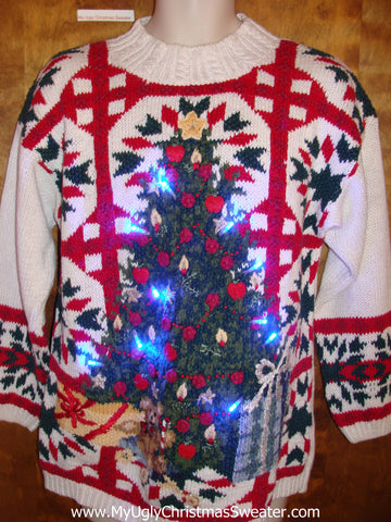 Horrible 80s Ugly Christmas Sweater with Lights