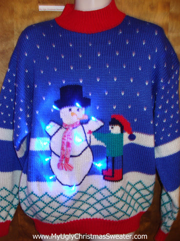Old School Snowman 80s Ugly Christmas Sweater with Lights
