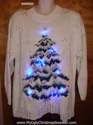 Ugly Christmas Sweater with Lights 80s Tree
