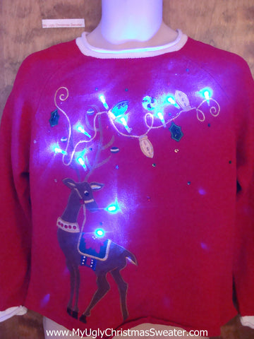 Bling Reindeer Ugly Christmas Sweater with Lights