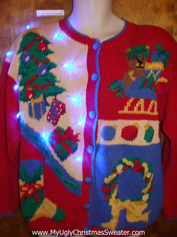 80s Colorful Ugly Christmas Sweater Cardigan with Lights