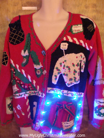 Shopaholic 2sided Ugly Christmas Sweater with Lights