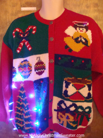 Ugly Christmas Sweater with Lights Angel and Drum