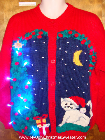 White Cat Ugly Christmas Sweater with Lights