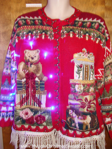 80s Ugly Christmas Sweater with Lights and Fringe