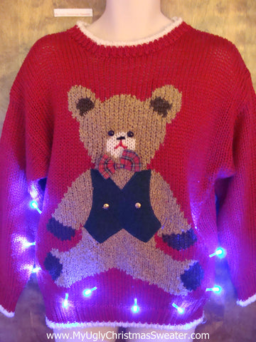 Cute Teddy Bear Ugly Christmas Sweater with Lights