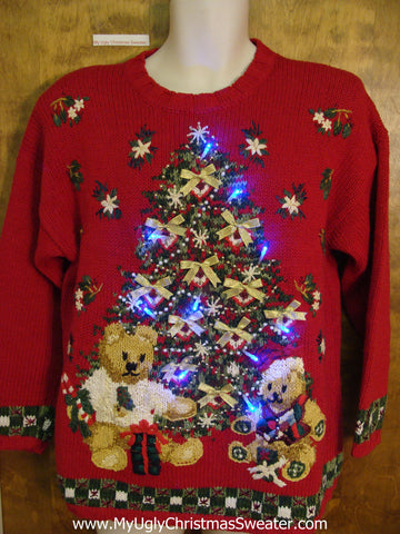 Red Ugly Christmas Sweater with Lights and Tree