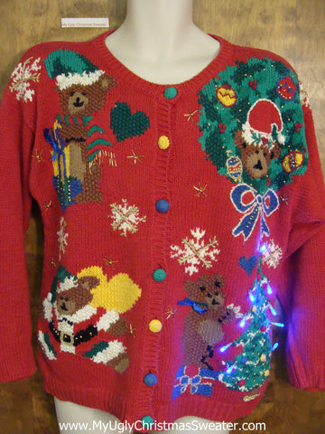 Teddy Bears Ugly Christmas Sweater with Lights