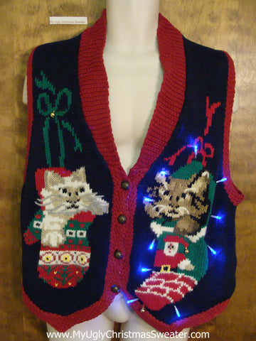 Miserable Cats Ugly Christmas Sweater Vest with Lights