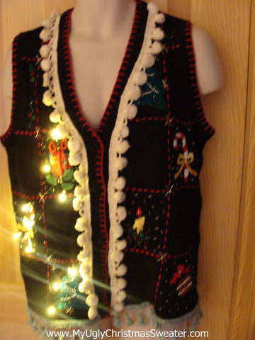 Tacky Ugly Christmas Sweater Vest with Lights and Fringe (g13)