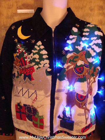 Reindeer Games Light Up Ugly Xmas Sweater