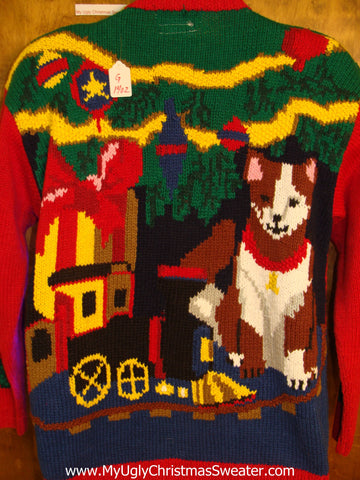 Best Dog Lover 80s Light Up Ugly Xmas Sweater