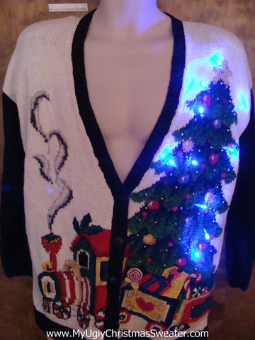 80s Light Up Ugly Xmas Sweater with Toy Train