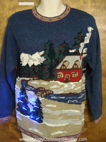 Cozy Red Cabin 80s Light Up Ugly Xmas Sweater