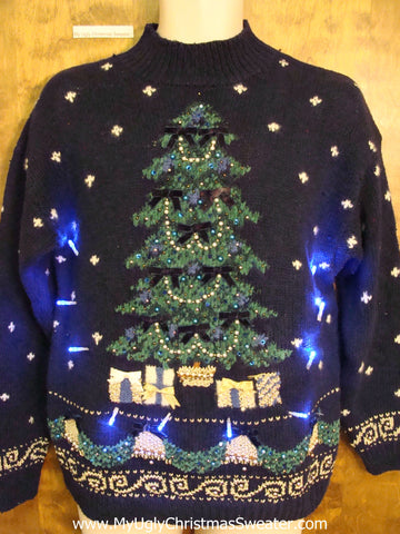 Navy Light Up Ugly Xmas Sweater with Huge Tree