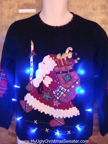 Marching Santa Light Up Ugly Xmas Sweater