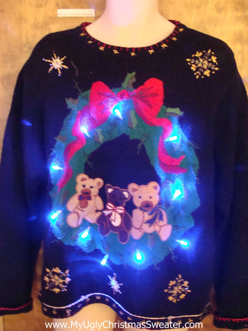 Teddy Bears in a Wreath Light Up Ugly Xmas Sweater