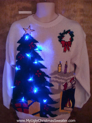 80s Light Up Ugly Xmas Sweater with Cozy Tree and Fireplace